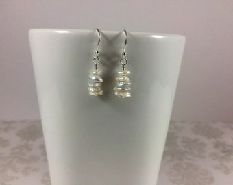 White Keshi Pearls and Sterling Silver Earrings