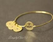 Mom Custom Initial ,Dime , Perosnilized Bracelet,Baby Shower Gift, Bangles, Kids Initial Bracelet, ,typewriter alphabet, Heart Stamp, Love
