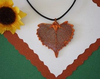 SALE Leaf Necklace, Copper Cottonwood Leaf, Real Cottonwood Leaf Necklace, Copper Leaf Pendant, SALE177