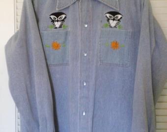 Vintage Denim Womens Jacket Embroidered Owls XL 1X