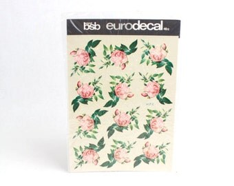 Vintage BSB Eurodecal Light Pink Roses Floral Decals Transfers