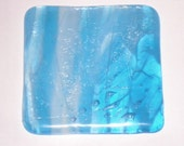 Fused Glass Coaster - Blue and White Iridescent Pixie Sticks
