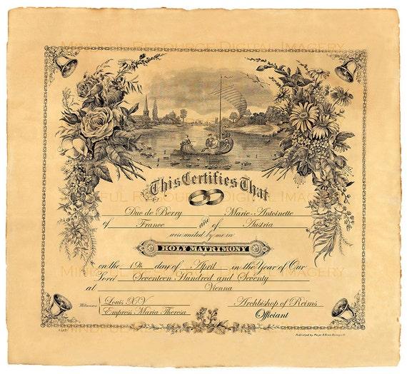 Personalised Wedding Gifts Vintage : Custom Marriage Certificate 1909 Vintage Personalized Wedding -FREE ...