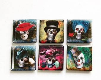 Skeleton magnets, Skull magnets, Square Magnets, Magnets, Fridge Magnets, Magnets, button magnets, Skeleton, Skulls, Grunge, Zombies (4616)