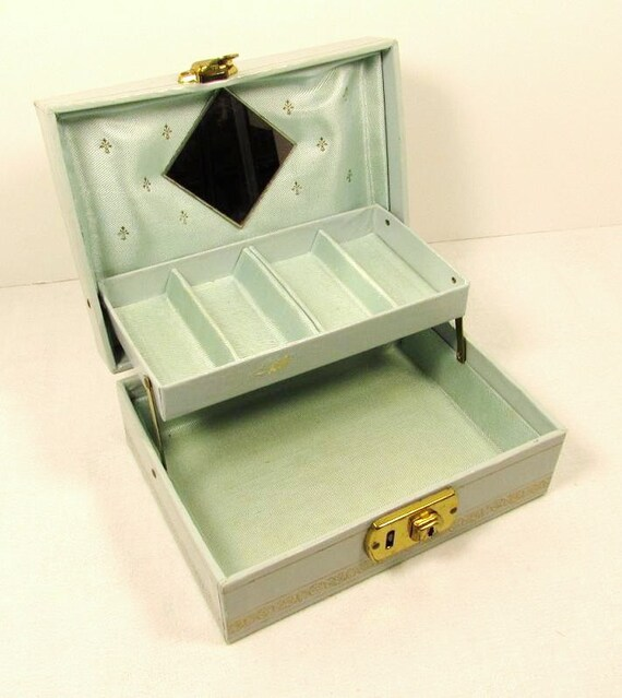 light blue jewelry box small child mirror by fortyacrevintage