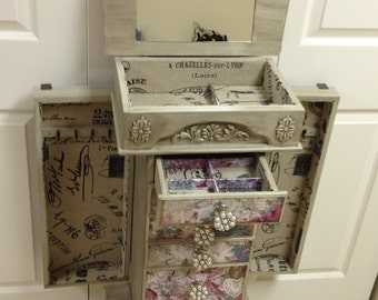 Floral Repurposed Jewelry Armoire- Custom Made To Order