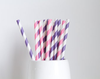 Pink and Purple Striped Mix Paper Straws