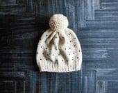 hand knit polka dot women's pom pom hat // black & white fair isle adult pompom beanie // soft warm wool baby girl cap
