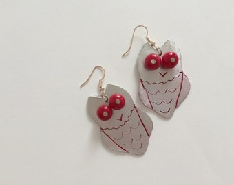 red owl earrings, hand blown red glass beads
