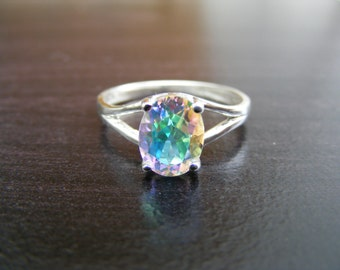 15% Off Sale.S104 Made to Order...New Sterling Silver Simply Styled Ring With 2 Carat Mercury Mist Topaz Gemstone