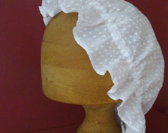 For 25% off use coupon 'SALE25' - Restored Antique Victorian Mob Cap Day Cap in Tufted Muslin