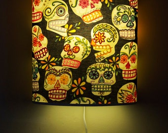 Glitter Sugar Skulls Day of the Dead Wall Light or Table Lamp
