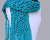 Long Chunky Knit Scarf  with Fringe in Brilliant Blue