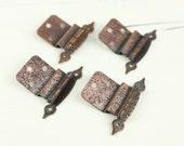 Vintage Hinges for Cabinet Doors w/ hammered antiqued copper finish, pointed ends (set of 4)