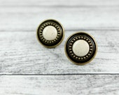 Vintage Brass & Porcelain, Cabinet pulls / knobs, Brass knobs w/ Round Porcelain centers (set of 2)