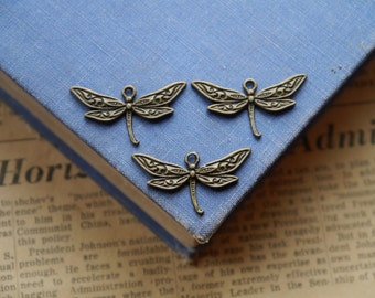 8 pcs Antique Bronze Dragonfly Charms 32mm (BC2188)