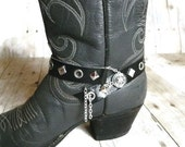 Bikers Black Leather Boot Bracelet, Rockers Single Strap Silver Grommeted Boot Jewelry for Guys or Gals Boots
