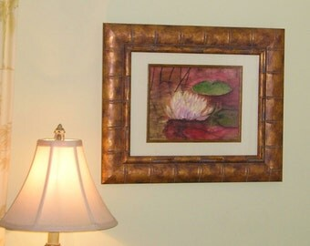 Print - Original Watercolor painting by Jamie Dauch Michigan artist - Lily on Sunset Pond on Display