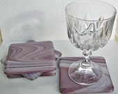 RESERVED FOR CUSTOMER Mauve Fused Glass Coasters Set of Six Fused Glass Art Handmade Housewares