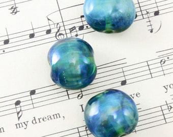 3 Handmade Glass Lampwork Beads 20mm - Vintaj Coastal Treasures