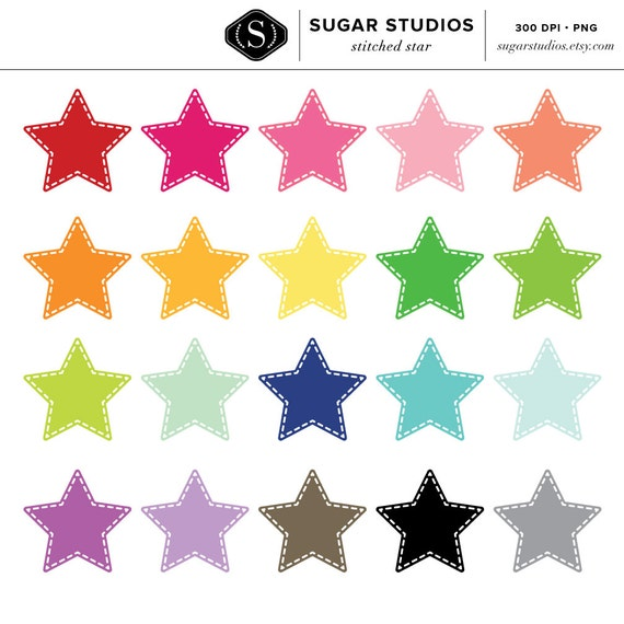 50% off Stitched Star Digital Clipart - 20 Pieces for Personal & Commercial Use - INSTANT DOWNLOAD