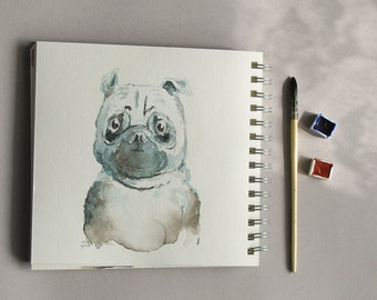 Pug watercolor fine art print - dog portrait illustration french bulldog wall art