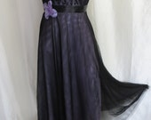 Vintage strapless dress womens cocktail party prom homecoming dance reception fancy dressy black lavender lace 80s McClintock size XS S