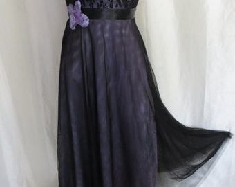 Vintage strapless dress womens cocktail party prom homecoming dance reception fancy black lavender lace 80s McClintock size XS S