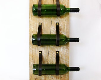 Wine Rack with reclaimed wood and recycled leather 3 Bottle wall bottle holder MWR54