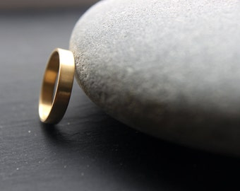 18ct Yellow Gold Wedding Band, 4mm Wedding Ring For Women Or Men, Brushed Finish, Custom Size