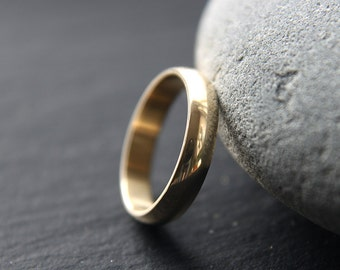 9ct Yellow Gold Wedding Ring, Womens Wedding Band, 4mm Wide Ring, D-profile, Shiny Finish, Custom Size
