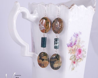 Long stone earrings with rhyolite and Indian agate gemstones, green and reddish brown with sterling silver, fashion earrings