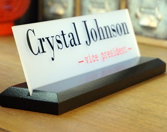 Personalized Desk Name Plate Personalized Employee Gift Professional Wood Sign 10 x 2.5