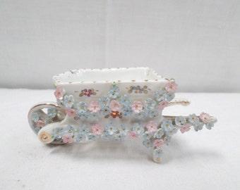 Porcelain Miniature Floral Wheelbarrow circa 1900 v192