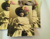 Vintage French Garden Card /Tag...Girl Tools Any Occasion Easter Birthday