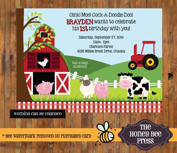 farm animal birthday invitation barnyard birthday invite, Birthday invitations