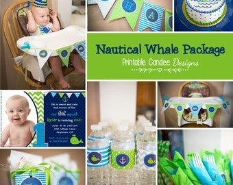Nautical Whale Birthday Party Package - Whale Birthday - Whale Party Decor - Little Squirt Birthday - Little Squirt Party - DIY Printable