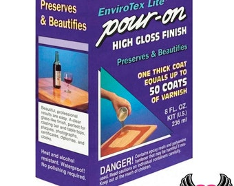 ENVIROTEX LITE Resin 8 oz High Gloss Epoxy Resin, pour-on, 1 to 1 Mix Resin & Hardener Kit, One Coat Equals 50 Coats of Varnish