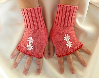 Coral Fingerless Gloves - Salmon Pink Gloves .