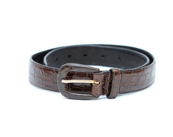 Vintage brown leather women 90s belt / faux crocodile