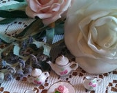 High Tea Set Magnets - Pink Flowers with Pink Rose Cake