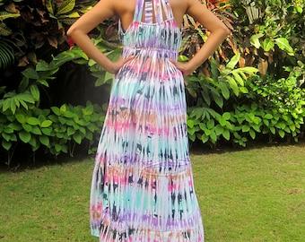Tie Dye Dress, Women's maxi dress, Beach Dress, Summer Dress, Sundress, Colorful tie dye