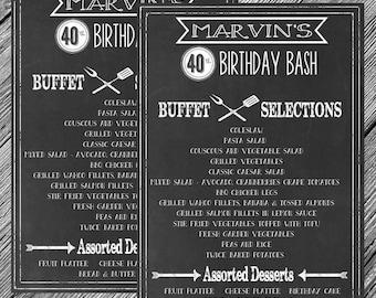 Chalkboard Printable Menu - BBQ • Birthday • Wedding • Backyard Event