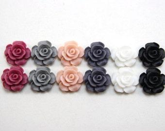 12 pcs Resin Flower Cabochons - 13.5mm Camellia Flowers - version 2 of Winter Romance Matte Mix