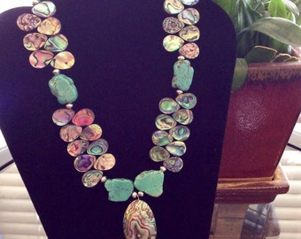 Genuine Abalone shell and Slate Turquoise necklace -The Elegance of Jewelry