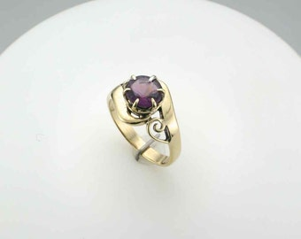Amethyst Ring; Swirl Gold Work Design; 18 Karat; Right Hand Ring; February Birthstone Ring