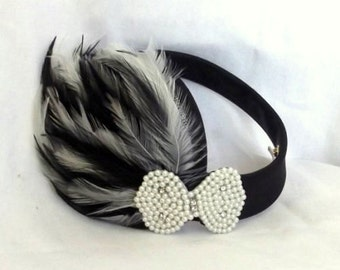 Black Vintage Hat - Feather Fascinator - Kentucky Derby Hat - Tea Party Fascinator