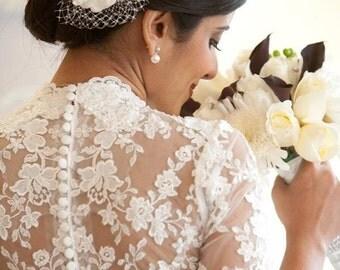 Ivory Bridal Headpiece, Wedding Head Piece, Rhinestone Head Piece, Feather Hair Clip, Flower Clip, White Head Piece, Ivory