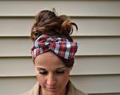 Plaid Hair Bow - Plaid headband - Red Plaid dolly bow headband- Dollybow Head Band