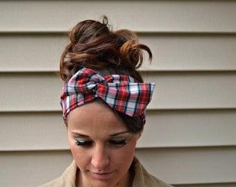 Plaid Hair Bow - Plaid headband - Red Plaid dolly bow headband- Dollybow Head Band A1